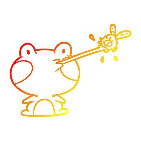 Dibujo de la línea de gradiente cálido de una linda rana atrapando moscas con lengua Ilustración de vector