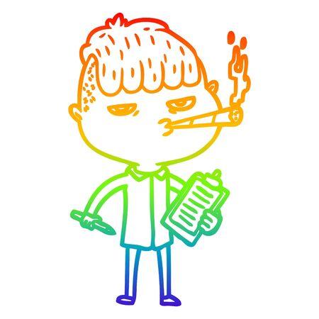 rainbow gradient line drawing of a cartoon salesman smoking Иллюстрация