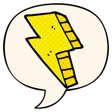 cartoon lightning bolt with speech bubble in comic book style
