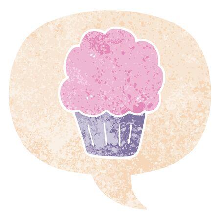 cartoon cupcake with speech bubble in grunge distressed retro textured style Çizim