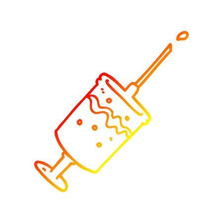 warm gradient line drawing of a cartoon syringe needle Ilustrace
