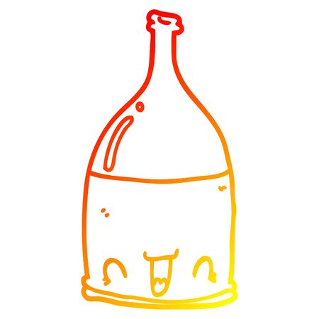 warm gradient line drawing of a cartoon wine bottle