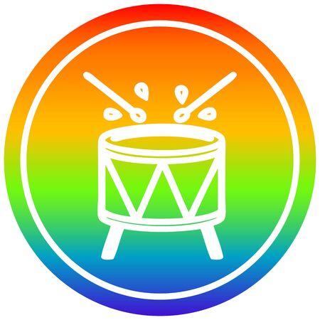 battendo l'icona circolare del tamburo con finitura sfumata arcobaleno