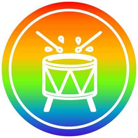 beating drum circular icon with rainbow gradient finish