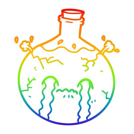 rainbow gradient line drawing of a cartoon cracking potion 向量圖像