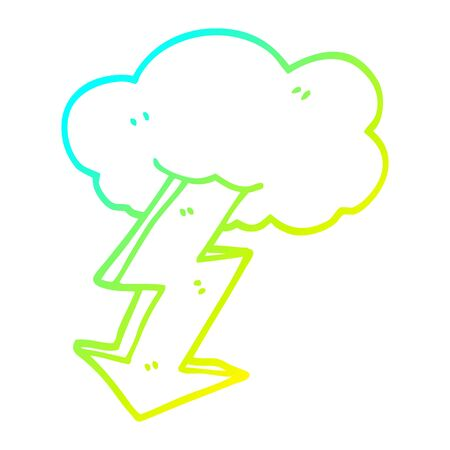 cold gradient line drawing of a cartoon lightning bolt Stock fotó - 129357556