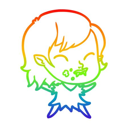 rainbow gradient line drawing of a cartoon vampire girl with blood on cheek Фото со стока - 129357287