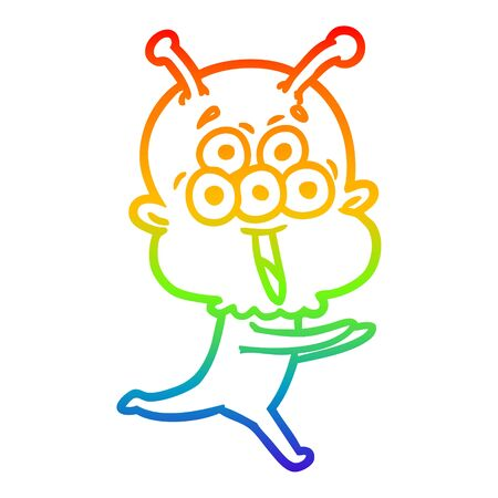 rainbow gradient line drawing of a happy cartoon alien running