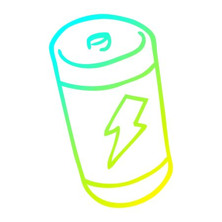 cold gradient line drawing of a cartoon battery Ilustrace