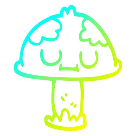 cold gradient line drawing of a cartoon poisonous toadstool