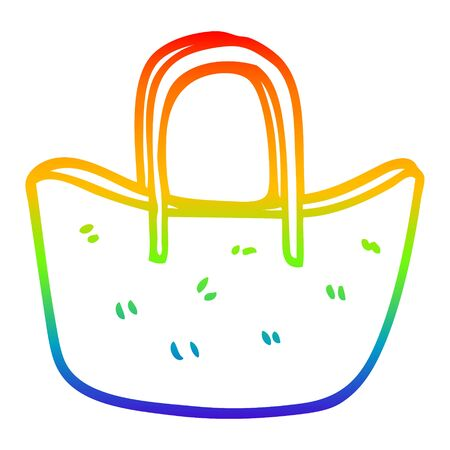 rainbow gradient line drawing of a cartoon woven basket Illusztráció