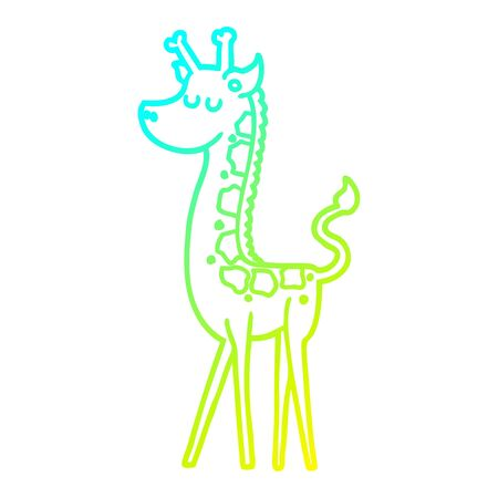 cold gradient line drawing of a cartoon giraffe