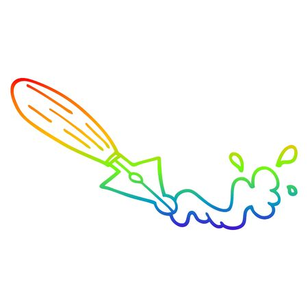 rainbow gradient line drawing of a cartoon fountain pen