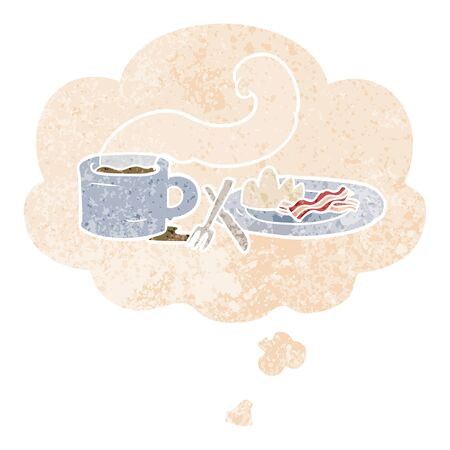 cartoon breakfast with thought bubble in grunge distressed retro textured style Ilustração