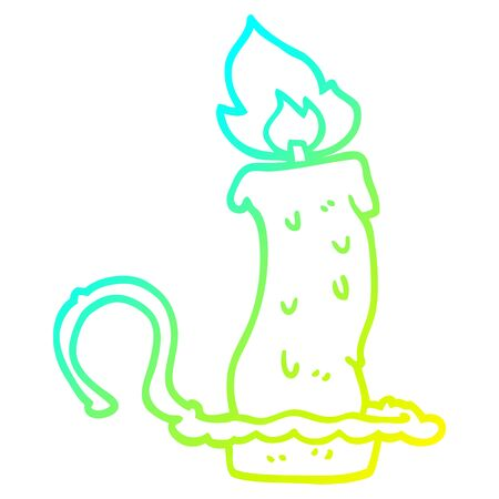 cold gradient line drawing of a cartoon burning halloween candle