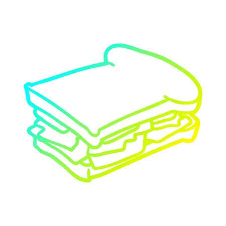 cold gradient line drawing of a ham cheese tomato sandwich Illustration