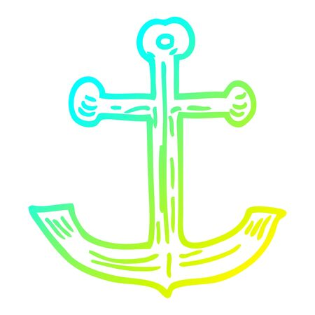 cold gradient line drawing of a cartoon ships anchor