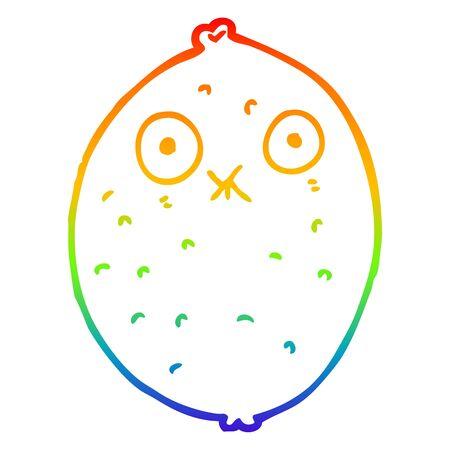 rainbow gradient line drawing of a cartoon bitter lemon