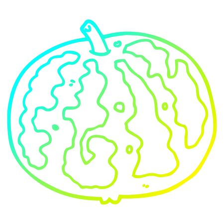 cold gradient line drawing of a cartoon melon 向量圖像