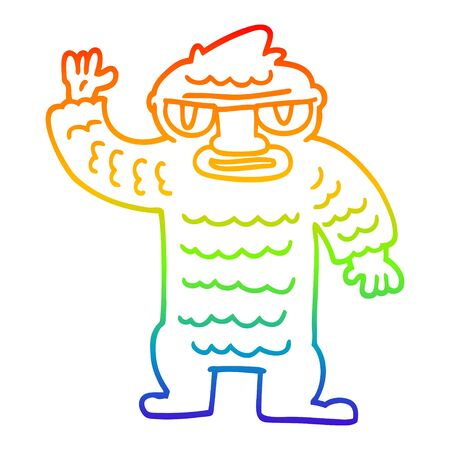 rainbow gradient line drawing of a cartoon big yeti