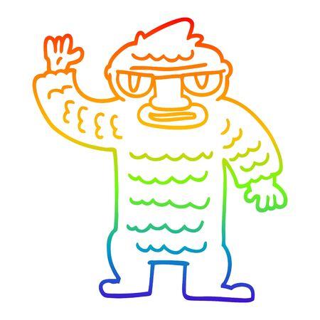 rainbow gradient line drawing of a cartoon big yeti