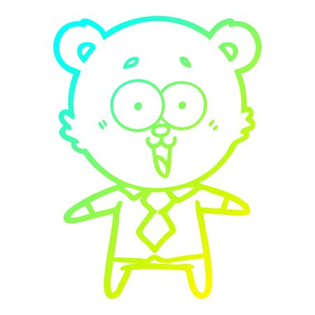 cold gradient line drawing of a laughing teddy  bear cartoon in shirt and tie