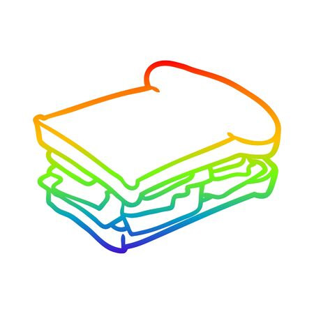 rainbow gradient line drawing of a ham cheese tomato sandwich Illustration