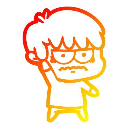warm gradient line drawing of a annoyed cartoon boy