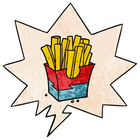 cartoon junk food fries with speech bubble in retro texture style