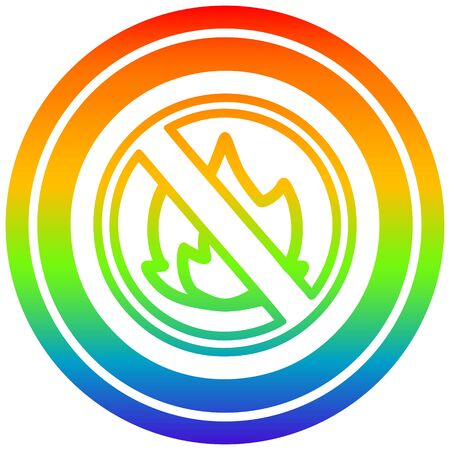 no flames circular icon with rainbow gradient finish Ilustração