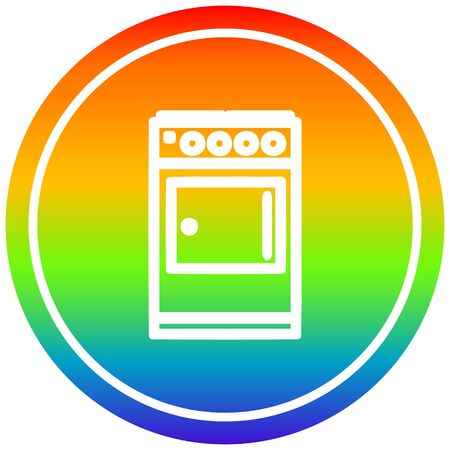 kitchen cooker circular icon with rainbow gradient finish