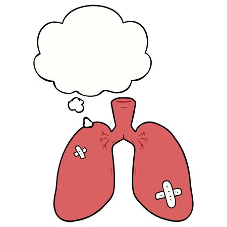 cartoon repaired lungs with thought bubble Çizim