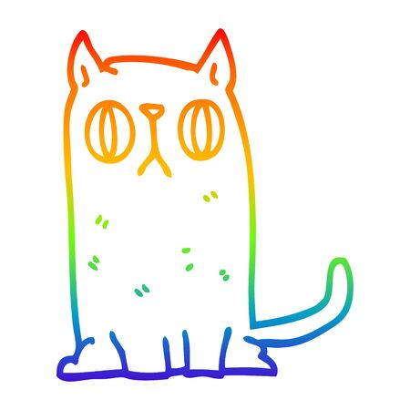 rainbow gradient line drawing of a cartoon funny cat