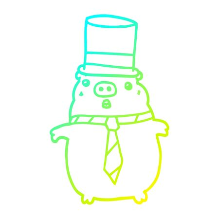 cold gradient line drawing of a cartoon business pig 向量圖像