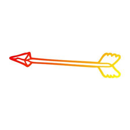 warm gradient line drawing of a cartoon arrow