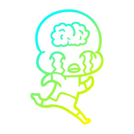 cold gradient line drawing of a cartoon big brain alien crying