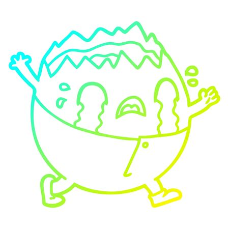 cold gradient line drawing of a humpty dumpty cartoon egg man crying Archivio Fotografico - 129357857