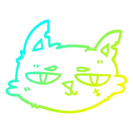 cold gradient line drawing of a cartoon tough cat face