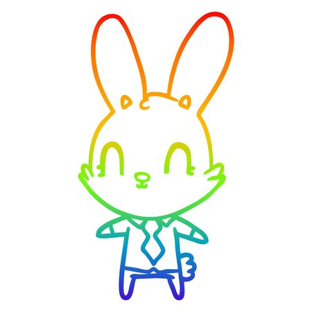 rainbow gradient line drawing of a cute cartoon rabbit in shirt and tie Ilustração