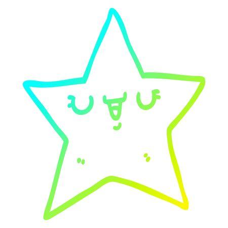 cold gradient line drawing of a cartoon star Ilustração