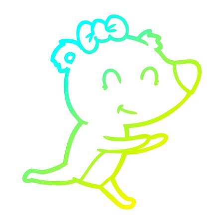 cold gradient line drawing of a running female bear cartoon