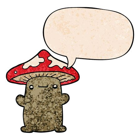 cartoon mushroom with speech bubble in retro texture style
