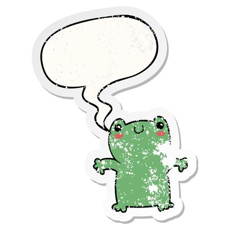 cartoon frog with speech bubble distressed distressed old sticker Çizim