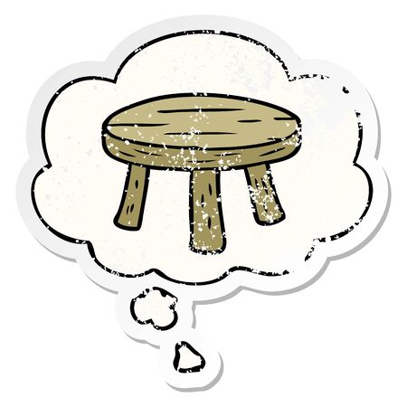 cartoon small stool with thought bubble as a distressed worn sticker 向量圖像