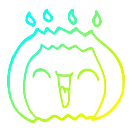 cold gradient line drawing of a cartoon laughing gas flame Standard-Bild - 129368329