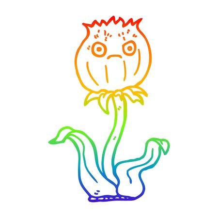 rainbow gradient line drawing of a cartoon thistle Illustration