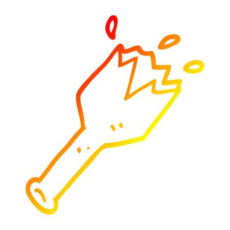 warm gradient line drawing of a cartoon  smashed glass bottle
