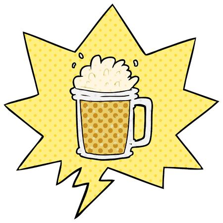 cartoon pint of ale with speech bubble in comic book style