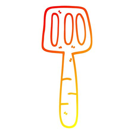 warm gradient line drawing of a cartoon food spatula Imagens - 129368414