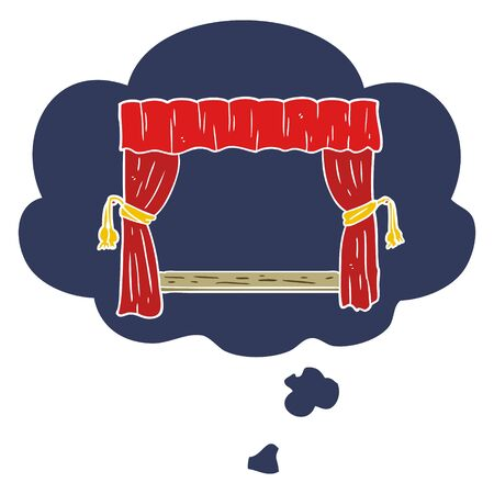 cartoon open curtains with thought bubble in retro style